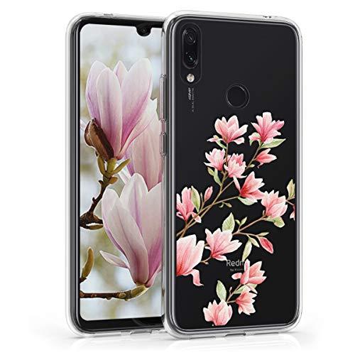 kwmobile Funda para Xiaomi Redmi Note 7 / Note 7 Pro - Carcasa de TPU para móvil y diseño de Magnolias en Rosa Claro/Blanco/Transparente