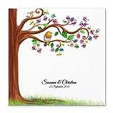 Madyes Leinwand Hochzeit Fingerabdruck Gästebuch personalisiert Baum Tweety für Das Brautpaar als Geschenk, Hochzeitsdekoration, Namen mit Datum. 50x50 cm groß auf Keilrahmen Holz