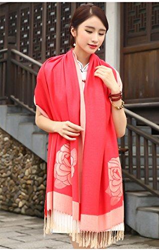 """Cloud-Y Elegante Echarpe Chale/ Foulard-Imprime-Femme Style Ethnique Motif Floral/ Taille:70.87""""x 27.56"""" Rouge"""
