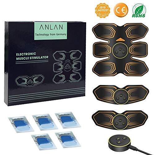 ANLAN EMS Trainingsgerät Elektrische Muskelstimulation Bauchmuskeltrainer Fitness Geräte für Herren und Damen Zuhause