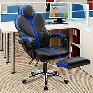 51GDBW%2Bu3QL. SS300  - LANGRIA-Silla-Gaming-de-Ordenador-para-Gamers-Especial-Videojuegos-Ergonmica-y-Ajustable-Tapizada-de-Piel-Falsa-Acolchada-con-Reposapis-Reposabrazos-y-Reposacabezas-Modelo-Cobra-Negro-y-Azul