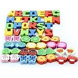 LHYP 54Pcs Hölzerne Schnürung & Streich Perlen mit Schnur, Schnür Perlen in Mehreren Formen und Farben Für Kleinkinder Vorschul Spielzeug