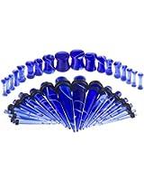 BODYA 36pc Full Kit Blue White marble Ear Taper Kit Plug Set Taper Stretching Expanders Tapers Stretcher