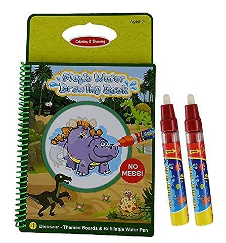 Rangebow Dinosaur Magic Aqua Water Reusable Drawing Doodle Book and Magic Pen for 3 Years plus (Dinosaur Book GC00608)