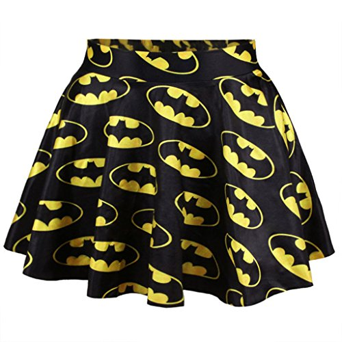 Superheld Batman Pac-Man Symbol Drucken Rock Hohe Taille A-Linie Rock Für Frauen (Co Rock A-linie)