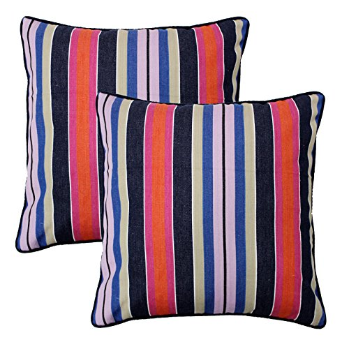 AURAVE Multicolored Stripes Premium Woven Cotton Cushion Cover - 12 inch x 12 inch (set of 2 pcs)