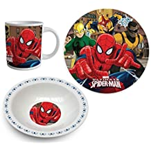 Spiderman Set desayuno, 3 piezas - Blanco -