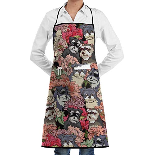 Bib Apron with Pocket Schnauzer Dog Florals Kitchen Apron Waterproof for Cooking Baker Servers BBQ 20