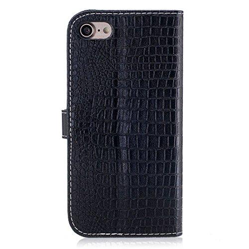 Yaking® Apple iPhone 7 PU Portefeuille Étui Coque Stand Flip Housse Couvrir impression Case Cover noir