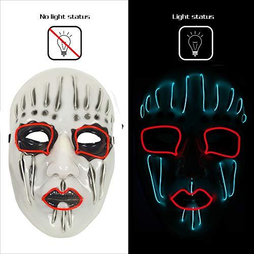AnseeDirect Maschera Clown Horror Maschera Raccapricciante Slipknot Maschera LED Glowing per Halloween Cosplay Feste Costume