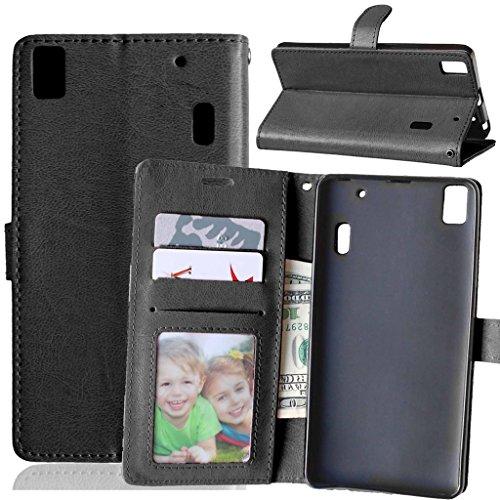Lenovo K3 Note Tasche Schwarz + Kostenlos Syncwire Ladekabel, FUBAODA Leder Hülle, Flip Leder Money Karte Slot Brieftasche, Kartenfächer Ständerfunktion für Lenovo K3 Note (A7000) (schwarz)