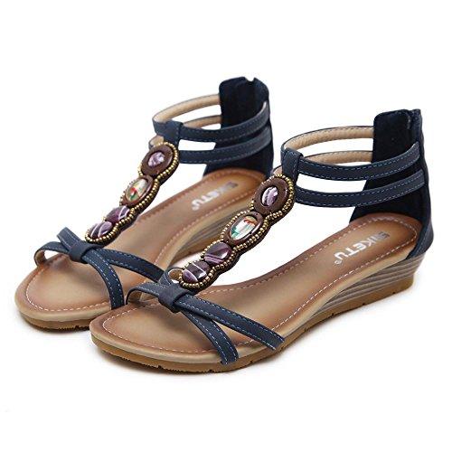 Witsaye sandali donna bassi eleganti estivi sandali tacco basso infradito donna eleganti sandali scarpe peep-toe - donna bohemia sandali in pelle scarpe sandali (41, marina militare)