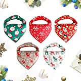 Weihnachten outfit Baby Dreieckstuch Lätzchen 5er Mädchen Jungen christmas Spucktuch Baumwolle Halstücher mit süßen Doppellagig Saugfähig Weihnachtsgeschenk