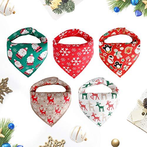 Weihnachten outfit Baby Dreieckstuch Lätzchen 5er Mädchen Jungen christmas Spucktuch Baumwolle Halstücher mit süßen Doppellagig Saugfähig Weihnachtsgeschenk (Produkte Beliebteste)