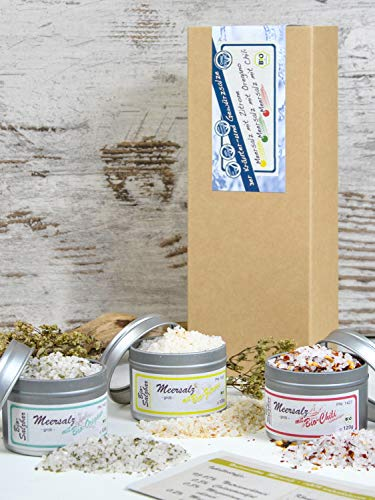 direct&friendly Bio Geschenkset grobes Meersalz mit Chili, Oregano und Zitrone