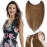 TESS Extensions Echthaar günstig 1 Tresse Remy Haarverlängerung mit Draht Haarverdichtung Glatt 16