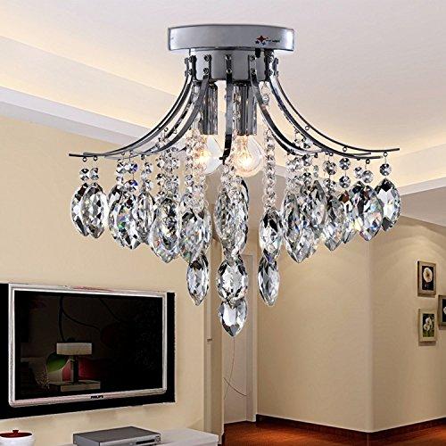 OOFAY LIGHT® Moderne minimalistische 3 Lichtkristall flush Mount Deckenleuchten mit Kristall-Regentropfen für Studie Zimmer/Büro, Esszimmer, Schlafzimmer, Wohnzimmer (Flush Mount 3 Birne)