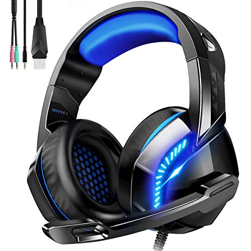 Gaming Headset für PS4 PC Xbox One, Over-Ear Kopfhörer mit Rauschunterdrückungs mikrofon LED Licht, Kabelgebundenes Gaming Headset für Laptop,MAC,Nintendo Switch, Smartphone,Tablet (Freier Adapter)