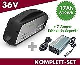Set E-Bike Ersatzakku Power Pack 17 Ah 612 Wh 36V für Bosch Classic Unterrohr + Ladegerät
