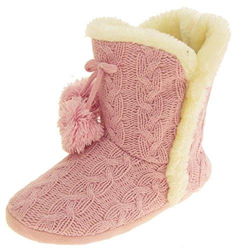 Footwear Studio Dunlop Damen Eleanor Kabel Gestrickte Pelzfutter Slipper Stiefel Rosa EU 40-41 (Gemütlich Kabel)