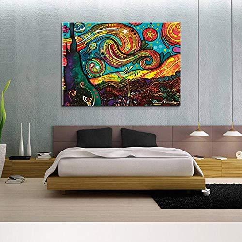 Leinwanddruck Abstrakte Sternennacht Leinwand Malerei Wandkunst Bilder Poster Ölgemälde Auf Leinwand Für Wohnzimmer Wohnkultur (Sternennacht ölgemälde)