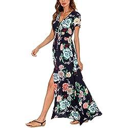 Vestido Largo Fluido de la Impresión Floral con Cuello en V de las Mujeres Vestido de la Playa de Boho (S, #1)