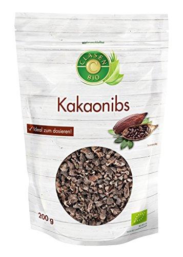 Clasen Bio Kakaonibs 200 g - vegan, glutenfrei, im praktischen wiederverschließbaren Beutel, biologisch hergestellt