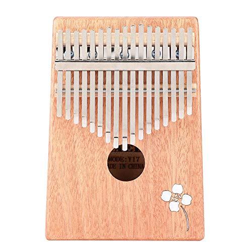 Fafeims Thumb Piano Set, tragbares Mahagoni 17 Tasten Festfinger Klavier Kalimba Mbira mit Dekor Aufkleber Instrument Zubehör