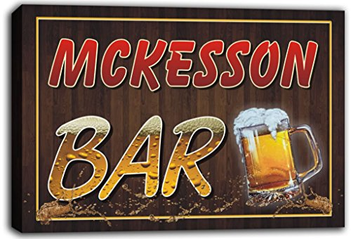 scw3-044544-mckesson-name-home-bar-pub-beer-mugs-stretched-canvas-print-sign