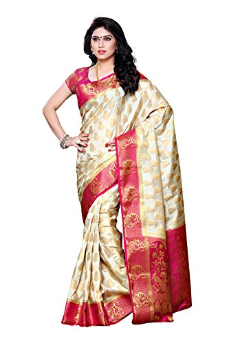 Mimosa Women's Traditional Art Silk Saree Kanjivaram Style With Blouse Color:Off White(3299-224-HWT-RNI )  available at amazon for Rs.1899