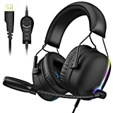 VersionTECH. 7.1 USB Gaming Headset, RGB V11 Gaming Headphone with ENC Dual Noise