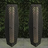 Solarbetriebene LED-Lampe im traditionellen Rattan-Effekt, für Garten und Terrasse, Auffahrt, bodenstehend, 69 cm Set of 2 Grey