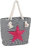 styleBREAKER Strandtasche in Streifen Optik mit Stern