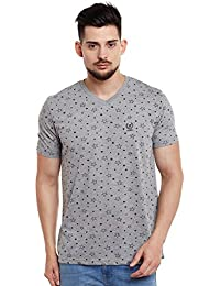 VIMAL Printed Grey Melange V Neck Cotton Tshirt for Men(Pack of 1)