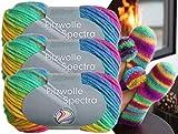 3x100 Gramm Gründl Filzwolle Spectra aus 100 % Schurwolle, (Sparset 05 Regenbogen Mix) inkl. Strickanleitung für Filzhausschuhe + 3 Strasssteine zum aufnähen