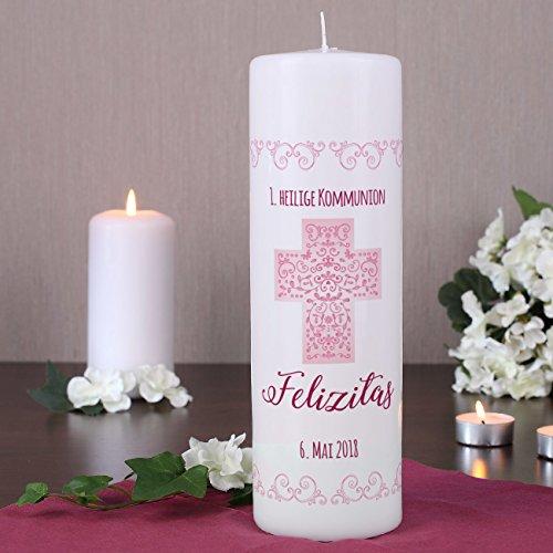Striefchen® Kerze zur Taufe/Kommunion/Konfirmation/Firmung mit Namen und Datum für Mädchen - 2