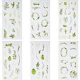 Yaomiao 36 Fogli Adesivi Piante Scrapbook Adesivi Decorativi Foglie Verdi Etichette Sticker per Punto Diario Album Mestieri