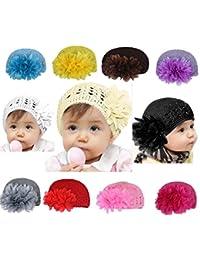 Yistu 11 PCS Flores infantes infantil del bebé chica pelo banda venda gorros sombreros