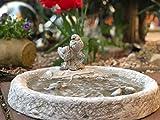 Radami Vogeltränke Vogelbad Wasserstelle Vogelbecken Schildkröte GRAU Vogelpaar