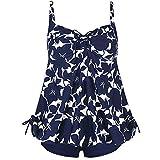 Yvelands Damen Tankini Sets Plus Size Schwimmen Split Badeanzug Bademode Push Up Beach Bikini Sets(CN-M,Blau)