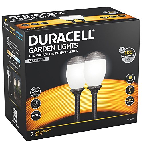 Duracell Garden Lights LED Wegeleuchten silber schwarz im 18 Volt low voltage System, max. 100 Lumen, 1 Watt - Schwarze Low-voltage-led