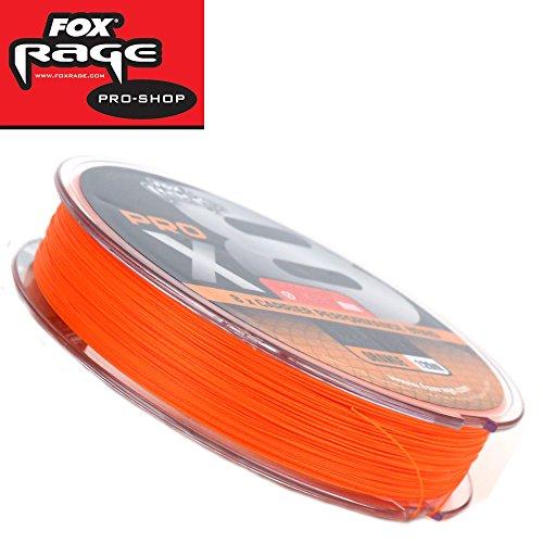 Fox Rage Pro x8 120m orange - geflochtene Angelschnur für Hechte, Zander & Barsche, Schnur zum Spinnfischen, Geflechtschnur, Durchmesser/Tragkraft:0.30mm / 60lbs / 27kg Tragkraft