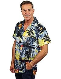 King Kameha | Funky Chemise Hawaïenne | Hommes | XS - 12XL | Manche-Courte | Poche-Avant | Hawaiian-Imprimer | Le Surf | Gris