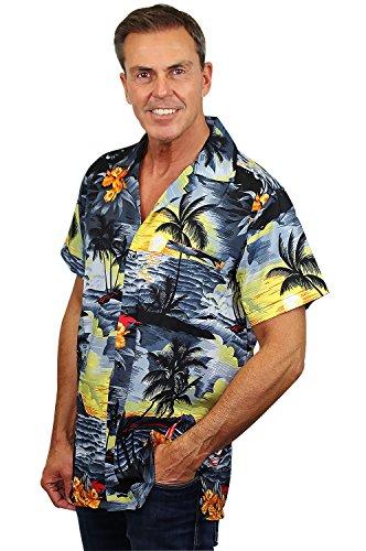 King Kameha | Funky Chemise Hawaïenne | Hommes | XS - 12XL | Manche-Courte | Poche-Avant | Hawaiian-Imprimer | Le Surf | Gris Gris