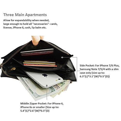Befen pelle morbida Smartphone Zipper Wallet Organizer con il supporto della carta di credito / tasca contanti / Wristlet- [Fino a 6 x 3.1 * 0.3 pollici del cellulare] Black Black