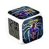 CLXYA Spiderman Relojes despertadoresColorido Personaje de Dibujos LED Despertador 3D Viaje Despertador- Regalo para niños,008