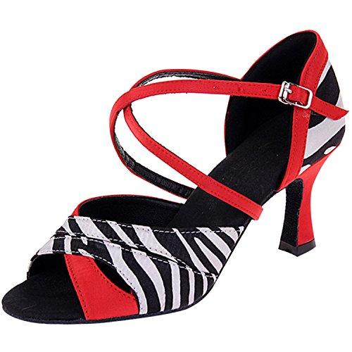 Oasap Damen Offen Streifen High Heels Tanz Sandalen Red-1