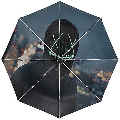 Paraguas automático Máscara Silueta Anónimo Viaje Conveniente A Prueba de Viento Impermeable Plegable Automático Abrir Cerrar