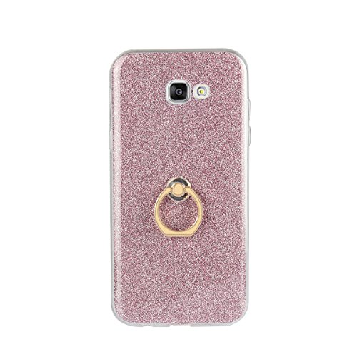 Custodia Cover iPhone 7 Plus, Funluna Copertura Brillante Strass Bling Silicone TPU Gel del Anello Supporto Custodia Ring Stand Holder Protezione Custodia Cover Case per Apple iPhone 7 Plus Rosa