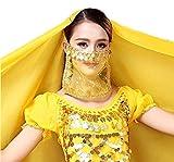 EVRYLON Velo odalisca Viso Danza del Ventre Carnevale Accessori Ragazza Donna Bambina Colore Giallo e Oro Ottima Idea Regalo